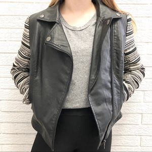Vegan Leather Moto Jacket w/ Fun Fabric Sleeves